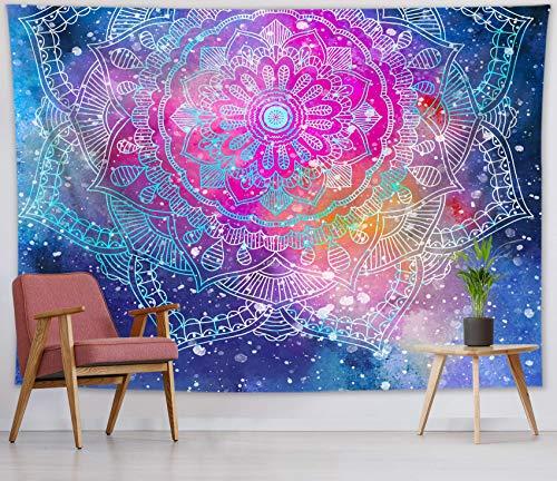 Tapiz de pared con diseño de mandala de cielo estrellado para colgar en la pared para dormitorio, decoración de pared, 59 x 39 pulgadas