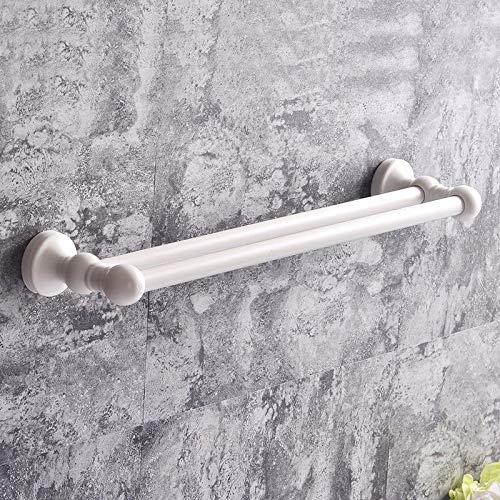 Handdoekhouder, keramiek, dubbelpolig, voor badkamer, 40 cm, wit glanzend