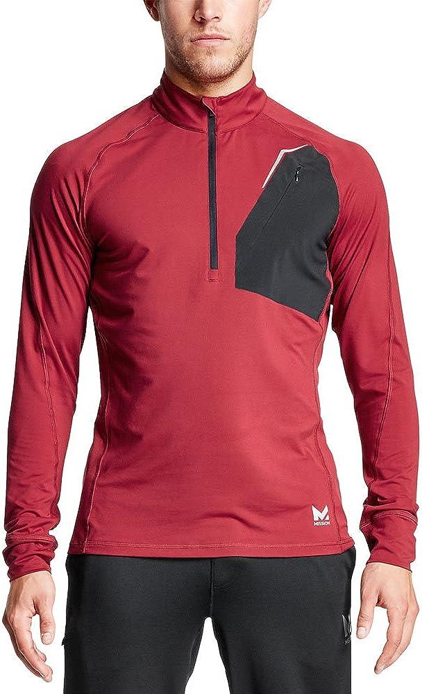 Mission Men's VaporActive Stamina Lightweight 1/4 Zip Long Sleeve Pullover, Tibetan Red/Moonless Night, X-Large