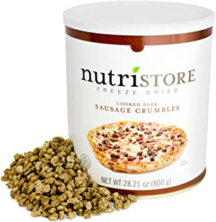 Nutristore Freeze Dried Sausage Crumbles | Premium Quality | USDA Inspected | Amazing Taste | Perfect for Camping | Survival Food
