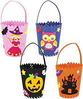 qiaoniuniu Halloween Tote Bag Halloween Baskets Party Gift Candy Bag Trick or Treat Bag for Kids, 4 Pack Sewing Kit for Ch...
