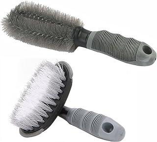 2Pack Nylon Brush Car Wheel Cleaning Brush Tire Rim Scrub Brush Soft Alloy Brush Cleaner Tie Auto Motorcycle Bike Wheel Cleaning Tool