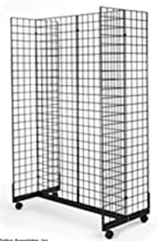 2' x 6' Grid Panel Floorstanding Display Fixture with Gondola Base. Matte Black