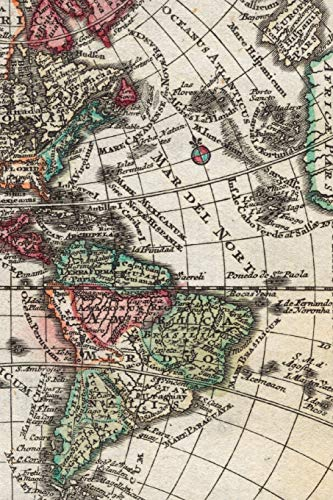 1762 Map of South America and North America - A Poetose Notebook / Journal / Diary (50 pages/25 sheets)
