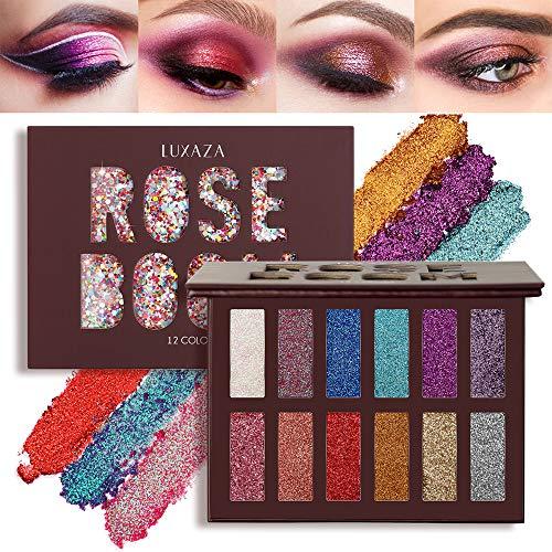 LUXAZA Glitter Eyeshadow Palette Shimmer High Pigmented Eyeshadow Powder 12 Colors Professional Makeup Long Lasting Waterproof Eye Shadow
