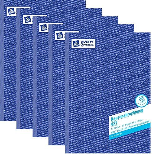 Avery Zweckform 427 Kassenabrechnung, DIN A4, mit MwSt.-Spalte für Einnahmen und Ausgaben, weiß, gelb (5er Sparpack)