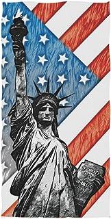 Statue de la Liberté avec drapeau américain Serviette de bain absorbante Serviettes de bain pour les mains à usages multip...
