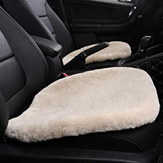 MLOVESIE Genuine Sheepskin Auto Seat Pad, Australian Soft Wool Seat Cover Comfort Warm with Non-Slip Backing Universal Fit,49cm49cm (Pink)