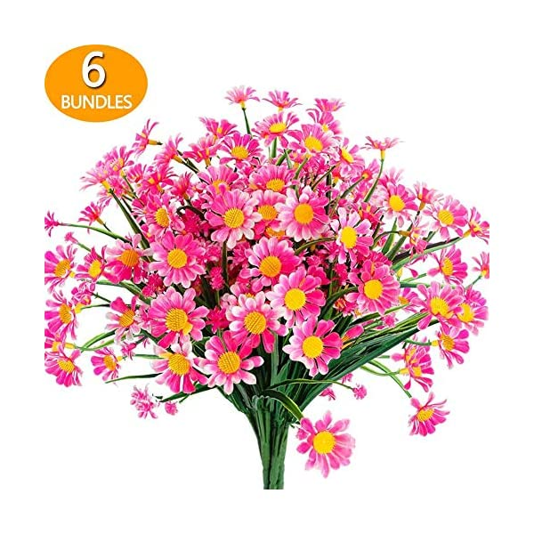 Peyan Artificial Daisy, 6Bunch Silk Daisy Artificial Gerber Daisy Artificial Chrysanthemum Daisy Flowers Heads for Wedding Decoration Home Decoration,6 Color
