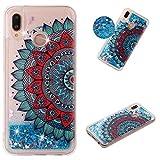 Miagon Flüssig Hülle für Huawei P30 Lite,Glitzer Weich Treibsand Handyhülle Glitter Quicksand Silikon TPU Bumper Schutzhülle Case Cover-Blau Mandala Blume