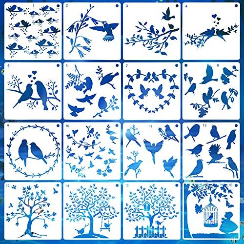 AvoDovA 16 Piezas Plantillas de Pájaros, Set de Plantillas de Dibujode Ramas de Árbol de Pájaro, Reutilizables, Plantillas de Dibujo DIY para Pintar Artesanía en Pared DIY Naturaleza, 15 x 15cm