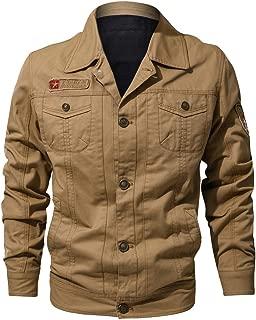 Bomber Jacket Fashion Men Autumn Winter Vintage Zipper Solid Turn-Down Collar Long Sleeve Coat Sweatshirt