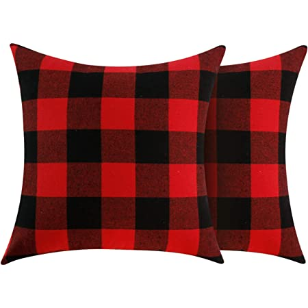 Amazon Com 4th Emotion Set Of 2 Christmas Buffalo Check Plaid Throw Pillow Covers Lumbar Oblong Rectangle Cushion Case Cotton Polyester For Farmhouse Home Decor Red And Black 12x20 Inches Home Kitchen