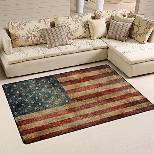 Anti-Rutsch-Teppich mit USA-Flaggen-Motiv von Naanle im Vintage-Stil, für Wohnzimmer, Esszimmer, Schlafzimmer, Küche, 50 x 80 cm, Polyester, multi, 100 x 150 cm(3' x 5')