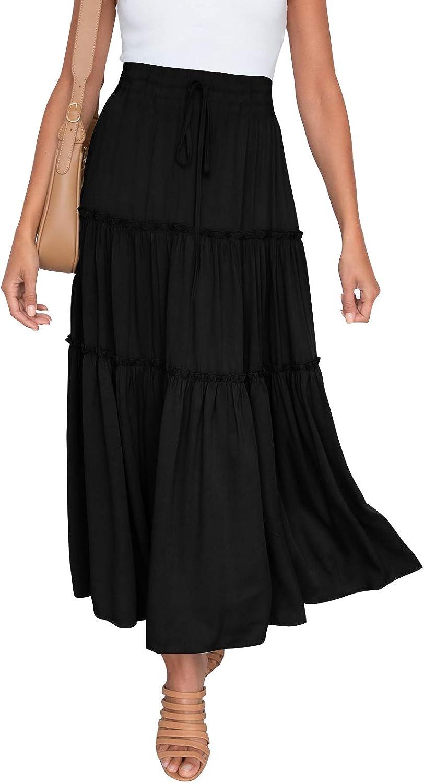 HAEOF Women's Boho Elastic High Waist A Line Ruffle Swing Beach Maxi Skirt