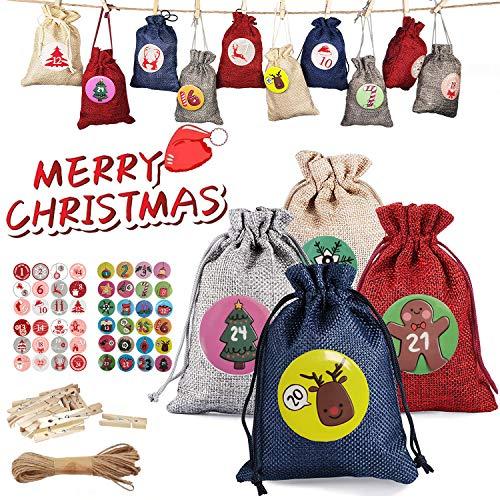 AZZ Adventskalender zum Befüllen Stoff 24 Pcs - DIY 2020 Weihnachtskalender Tüten Selber Basteln - Stoffbeutel mit 1-24 Adventszahlen Buttons - Weihnachten Geschenksäckchen für Männer Mädchen Kinder