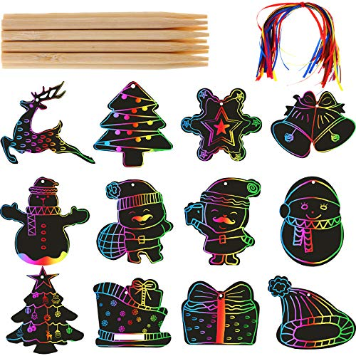 72 Pieces Christmas Scratch Paper Rainbow Color Scratch Ornaments Christmas Ornaments Hanging Craft Art Kits with Wooden Stick and Rope for Kids Christmas Party Decorations