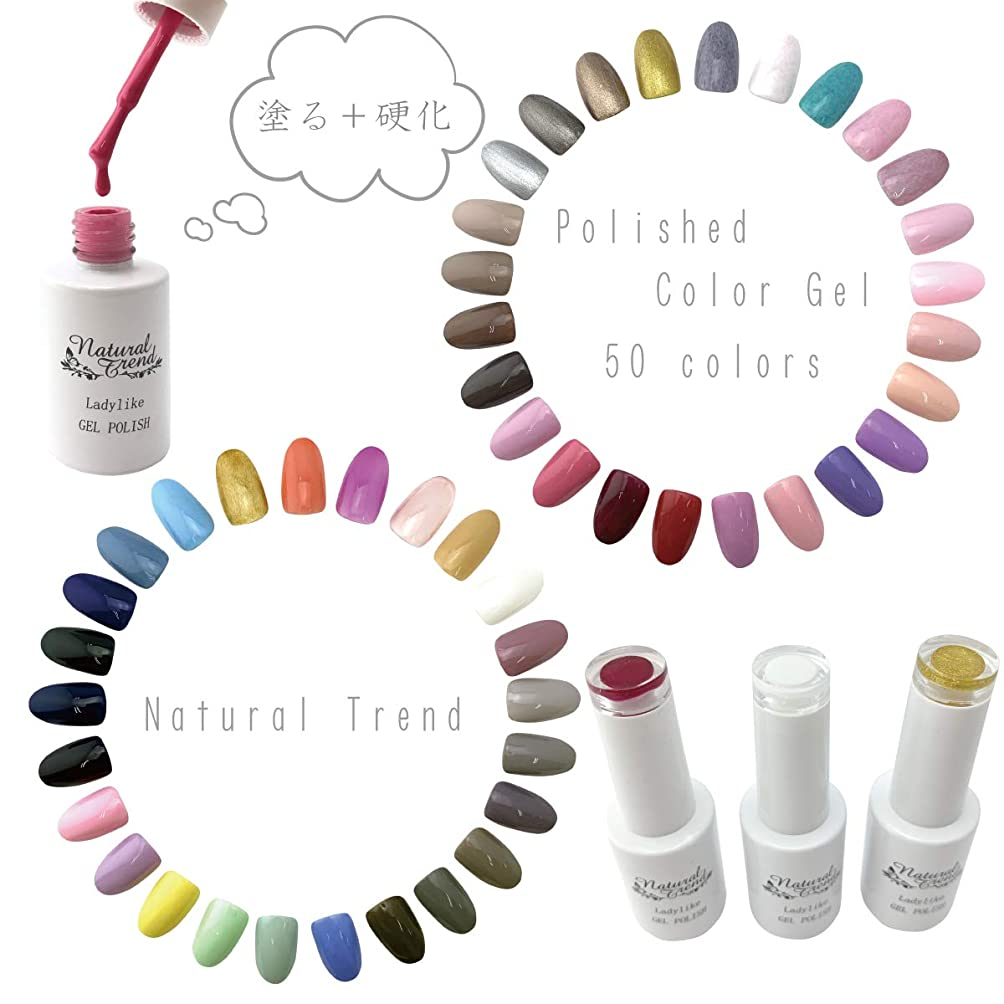 バーゲンブレンド大事にするNaturalTrend ジェルネイル カラー 50色 8ml UV?LED ポリッシュタイプ カラージェル (02, pinkred)