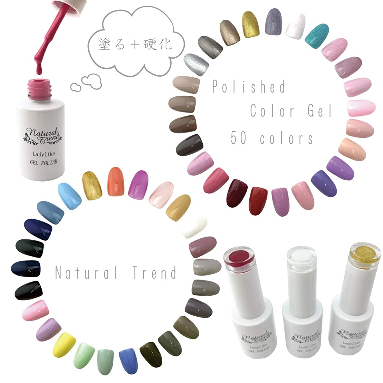 欠如忘れっぽい領事館NaturalTrend ジェルネイル カラー 50色 8ml UV?LED ポリッシュタイプ カラージェル (02, pinkred)