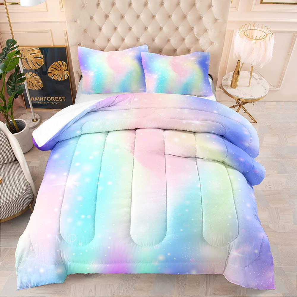 3D Ranking TOP11 Rainbow Cloud Girly Bedroom Comforter Queen for Set Superior Size Bed