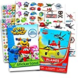 Super Wings Party Supplies Super Wings Stickers Party Favors Pack -- Over 295 Tranforming Planes Stickers and Bonus 50 Disney Planes Temporary Tattoos