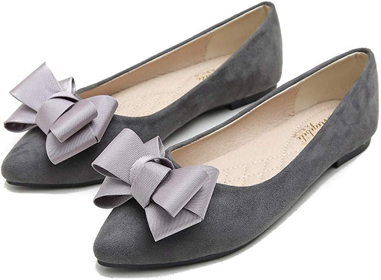Kyle Walsh Pa Women Elegant Flats shoes Bow Knot Pointed Toe Suede Ladies Casual Moccasins