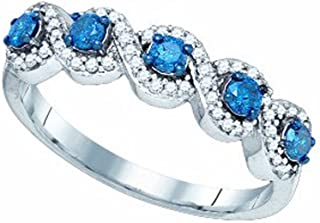 1/2 Carat (ctw) 10K White Gold Blue & White Round Diamond Ladies Swirl Cocktail Right Hand Ring 1/2 CT