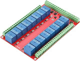 16 Channel Relay Module, Walfront Two-Way Isolated Type Optocoupler 16 Channel Relay Module Interface Board High/Low Level Trigger DC 5/12/24V 3 Types Optional(DC24V)