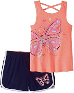 Girls' Cross Back Tank Top and Shorts 2-Piece Set, Size 4-5t(Peach)