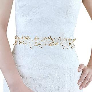 LUKEEXIN Belt Bride Crystal Belt Wedding Dress Accessories Bridal Accessories (Color : White- Organza)