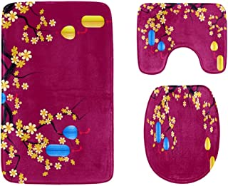 Chinese New Year and Mid-Autumn Festival Lanterns Bathroom Rug Mats Set 3-Piece,Soft Shower Bath Rugs,Contour Mat and Toil...