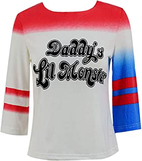 Harley Cosplay Costume Shirt Womens Halloween Daddy's Little Monster Babydoll Tee
