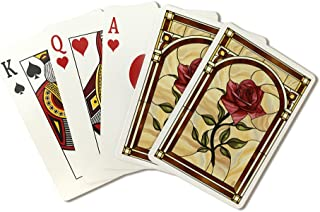Rose Stained Glass (Playing Card Deck - 52 Card Poker Size with Jokers)