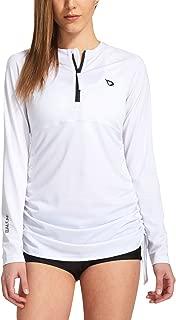 Women's Long Sleeve Half-Zip Sun Protection Rashguard Side Adjustable Swim Shirt