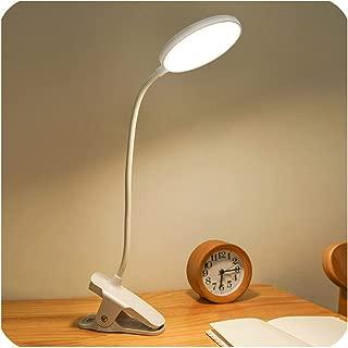 クリップタッチデスクランプ付きテーブルランプ1200mAh LEDデスク充電式リーディングランプUSBテーブルライトランプテーブル、白、0-5W
