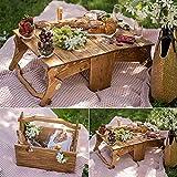 Cesta de picnic plegable de madera para exteriores, mesa de picnic portátil para vino, mesa de picnic 2 en 1, canasta de madera de almacenamiento convertible, para picnic al aire (primary color)