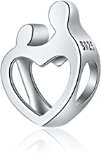 PHOCKSIN 925 Sterling Silver Bead Mother Daughter Son Love Forever Murano Glass Charms fits Bracelets Necklace