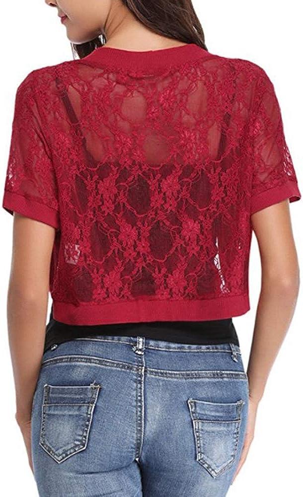 LoVnely Women Short Sleeve Floral Lace Shrug Open Front Short Bolero Cardigan