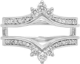 0.40 Carat (ctw) 14K Gold Round Cut White Diamond Anniversary Wedding Band Enhancer Guard Double Ring
