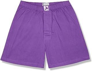 Biagio Men's Solid Purple Indigo Color Boxer 100% Knit Cotton Shorts