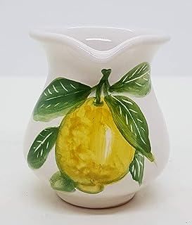 Brocca Linea Limoni Ceramica Realizzato e Dipinto a Mano Le Ceramiche del Castello Made in Italy Dimensioni H 9 x 11 cm.