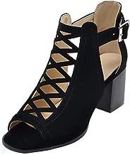 Mofri Women's Fashion Faux Suede Cut Out Buckle Belt Peep Toe Stacked Medium Block Heel Gladiators Sandals