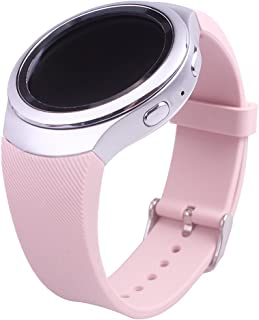 Huamecl Gear S2 Watch Band,Soft Silicone Replacement Sport Band for Samsung Gear S2 SM-R720 Smart Watch,NOT FIT S2 Classic (SM-R732 & SM-R735), NOT FIT Gear Fit2-Twill Pink