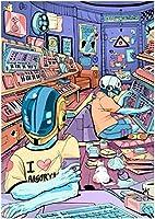 MMOQAZL ジグソーパズルパンク電子ゲームパズル、木製1000ピース抽象芸術絵画パズル、知的挑戦家族ゲームギフトホームルームの装飾(Dm58)