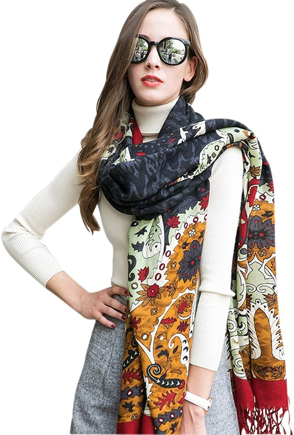 Cold Weather Scarves Scarf Women's Scarf Ladies Shawl Multifunctional Wool Scarf Wrapped Tassel Shawl National Wind Travel Shawl Winter Soft Scarf Fashion Print Scarf Long Cape New Year Gift Wraps