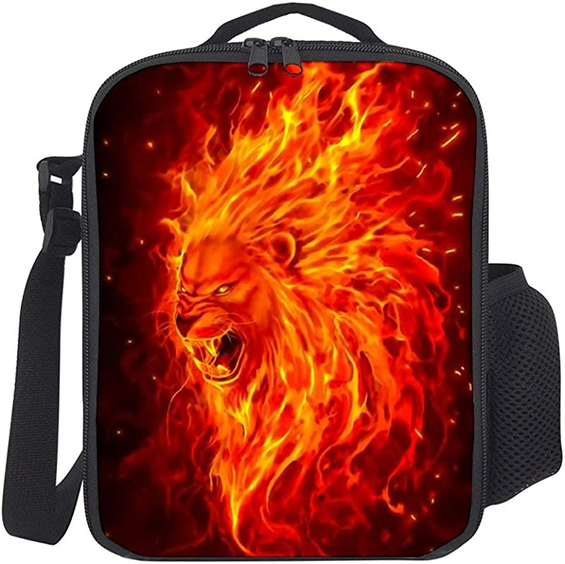 SARA NELL Kids Lunch Backpack Lunch Box Fire Lion King Animal Lunch Bag Large Lunch Boxes Cooler Meal Prep Lunch Tote With Shoulder Strap For Boys Girls Teens Women Adults