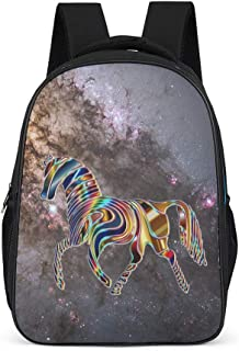 XHJQ8 Psychedelic Horse Backpack Cute Water Bottle Pockets Bookbag - Magical Pattern Printing School Bag Computer Use High Quality for Women&Men Grey OneSize