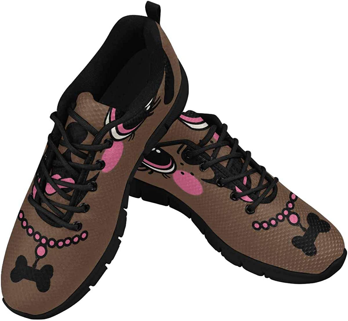 INTERESTPRINT Cute Puppy Face Women's Athletic Mesh Breathable Casual Sneakers