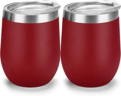 Wine Glass - Stainless Steel Tumbler with Lid – Double Wall Vacuum Insulated Cup - Keep Wine, Coffee, Champagne, Cocktails Colder or Warm -12 oz (Red)