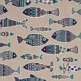 MIRABLAU DESIGN Stoffverkauf Baumwolle Canvas blaue Fische